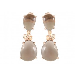CABOCHON STONE AND CUBIC ZIRCONIA EARRINGS