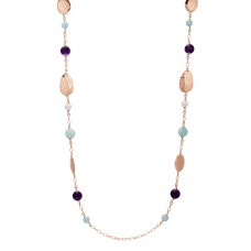 FLAT DISCS AND COLORED STONES NECKLACE
