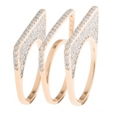 Set Of 3 Geometric Rings With White Cubic Zirconia