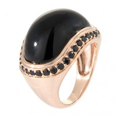 Tone On Tone Cabochon Ring With Cubic Zirconia